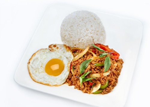 Basil Chicken and Fried Egg with Rice