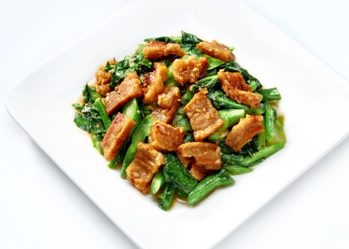 Chinese Broccoli with Crispy Pork or Salted Fish