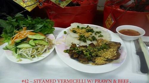 42 - Steamed Vermicelli Prawn & Beef - Bánh Hỏi Tôm Bò Nướng
