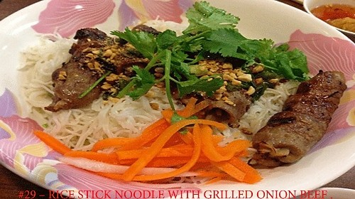 29 - Rice Stick Noodle With Grilled Onion Beef - Bún Bò Nướng