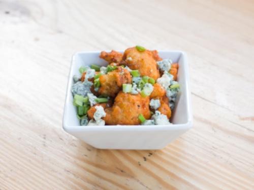 Buffalo Cauliflower with Blue Cheese Crumbles