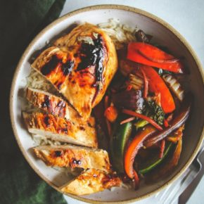 Jerk Chicken Rice Bowl with Pineapple Black Beans