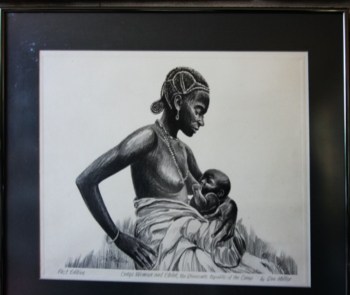 Congo Woman and Child Lithograph