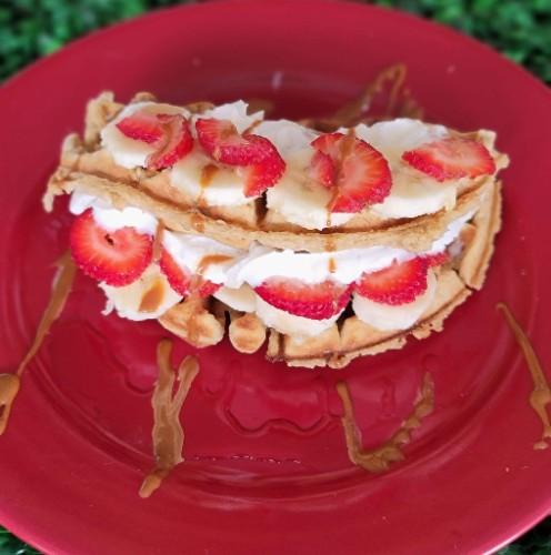 Strawberry Banana Stuffed Waffle